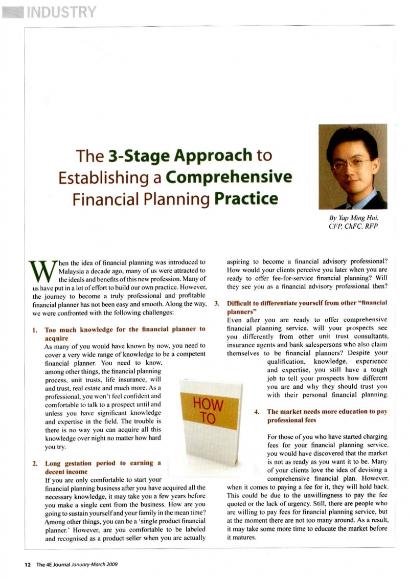 The 3-Stage approach to Establishing a comprehensive financial planning practice (4E Jounal) - 01 Mar 2009