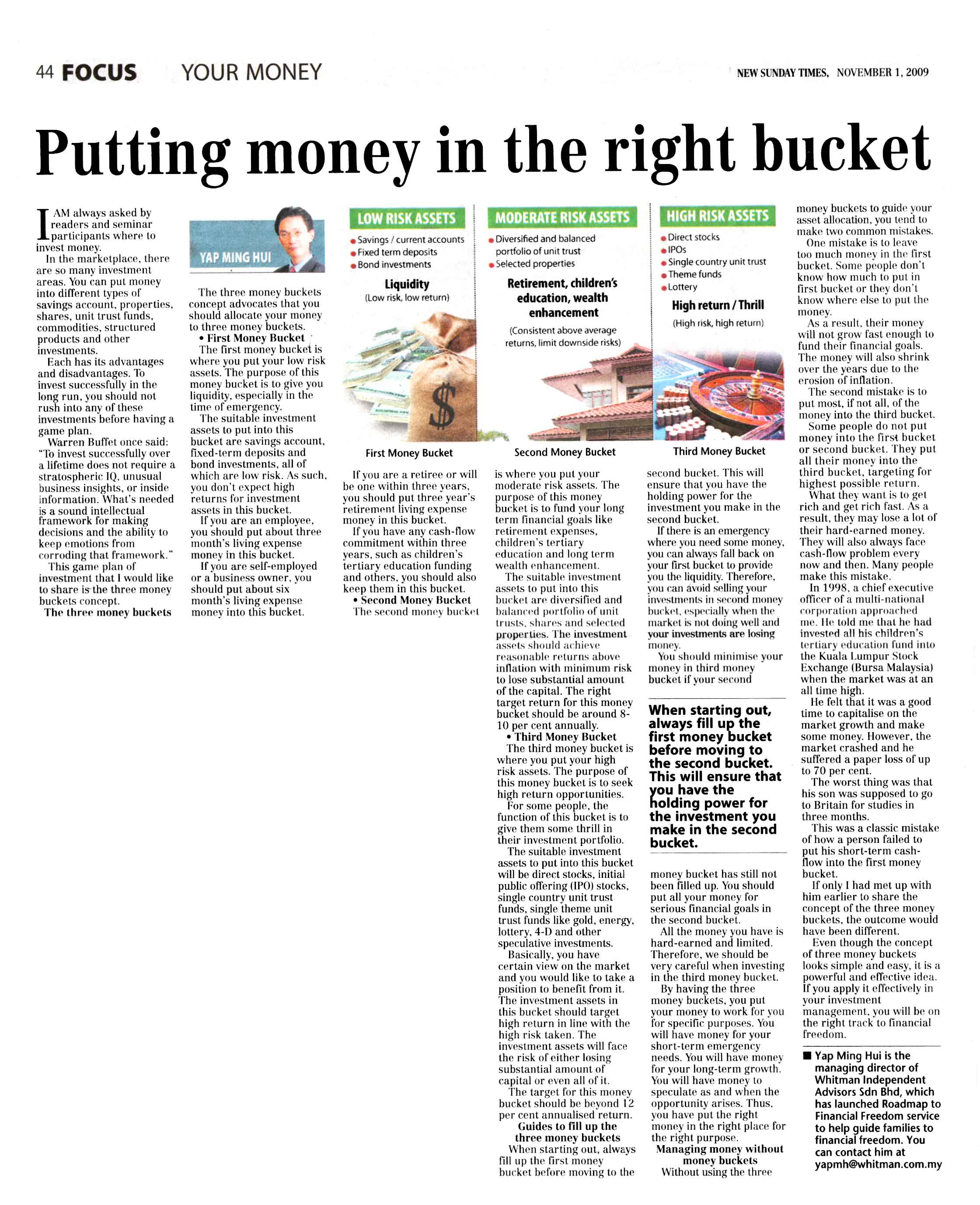 Building Low Risk Investment In Malaysia Money In The Right Bucket