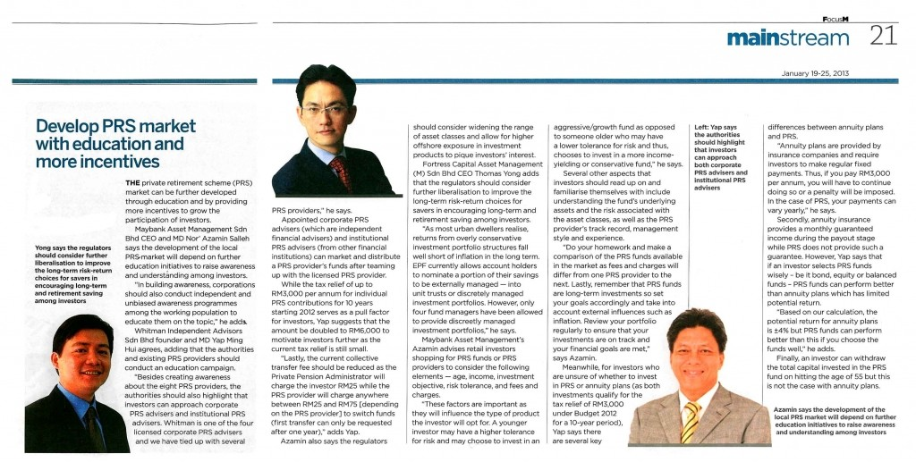 Develop PRS market with education and more incentives (Focus Malaysia) - 19 Jan 2013