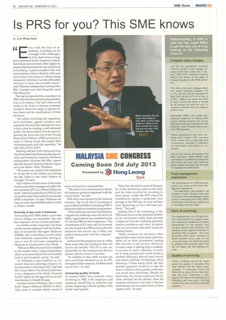 Is PRS for You (SME Malaysia) - 26 Jan 2013