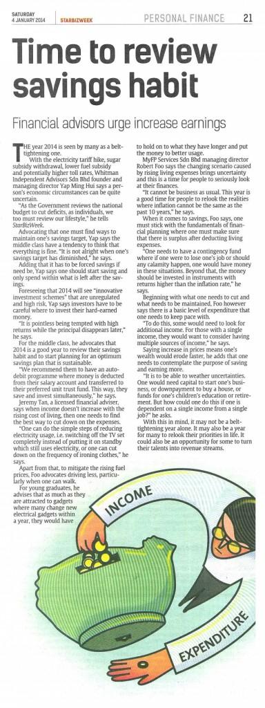 Time to Review Savings Habit (Star Bizweek) - 04 Jan 2014