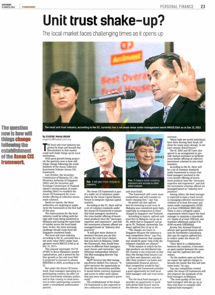 Unit Trust Shake-up (Star bizweek) - 15 Mar 2014