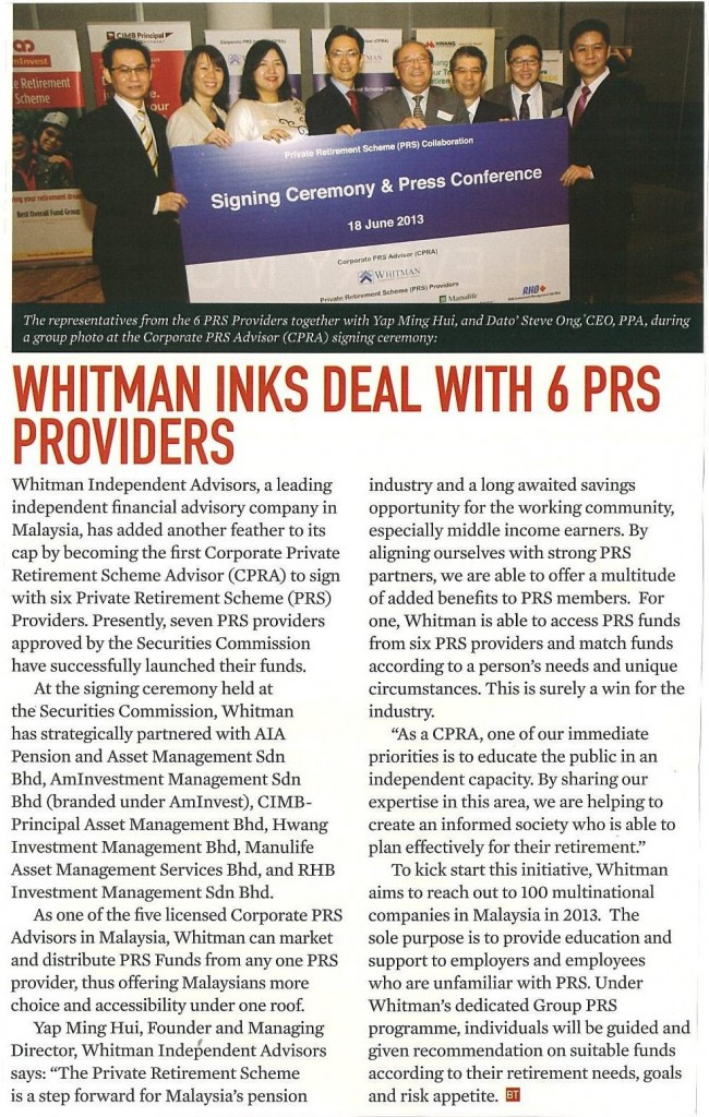 Whitman Inks Deal with 6 PRS Providers (Business Today) - 01 Aug 2013