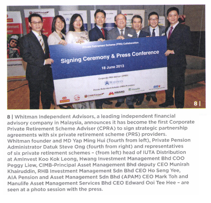 Whitman Inks Deal with 6 PRS Providers to offer more choices and accessibility to Malaysians (Focus Malaysia) - 19 Jun 2013