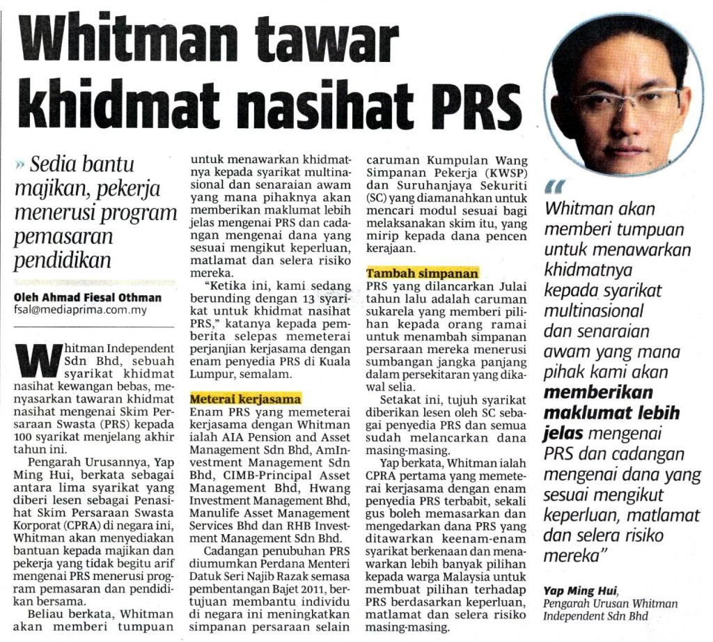Whitman Tawar Khidmat Nasihat PRS (Berita Harian) - 19 Jun 2013