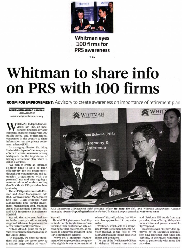 Whitman to share info on PRS with 100 firms (Business Times) - 19 Jun 2013