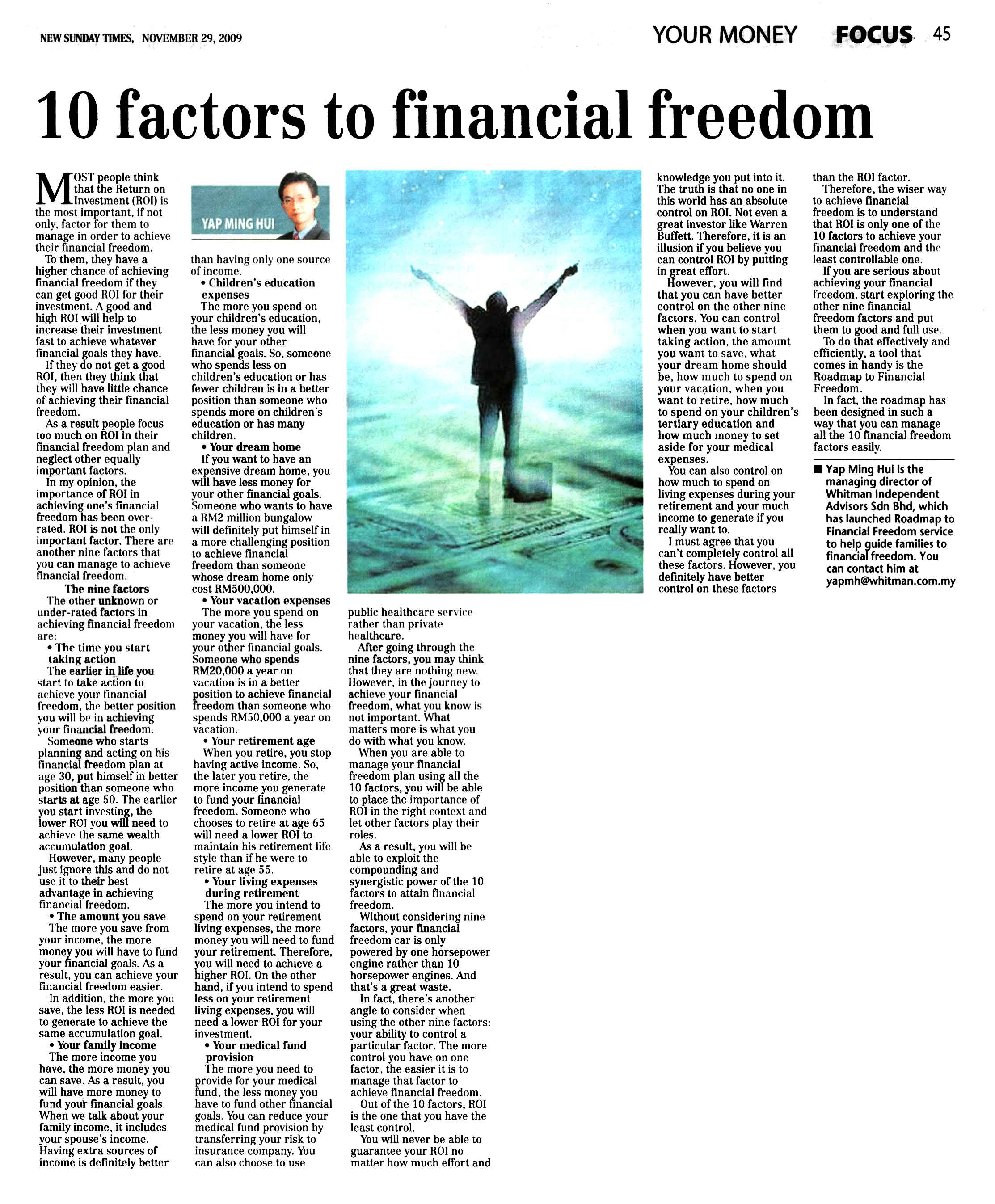 10 Factors to Financial Freedom (New Sunday Times) - 29 Nov 2009