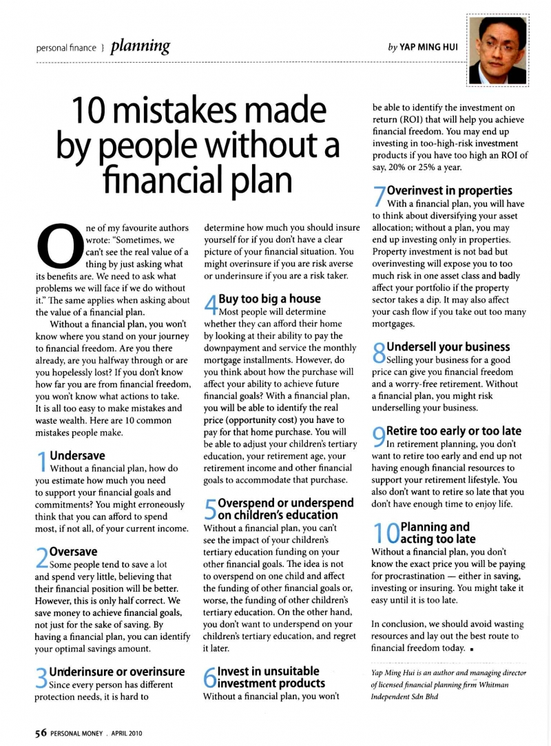 10 mistakes made by people without a financial plan (Personal Money) - 01 Apr 2010
