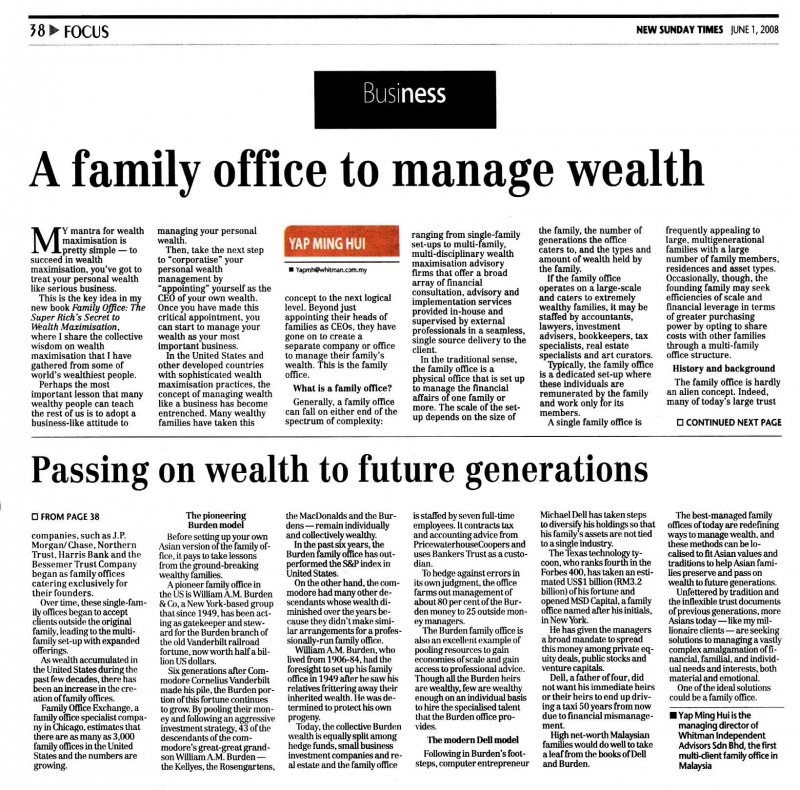 A Family Office to Manage Wealth (New Sunday Times) - 01 Jun 2008