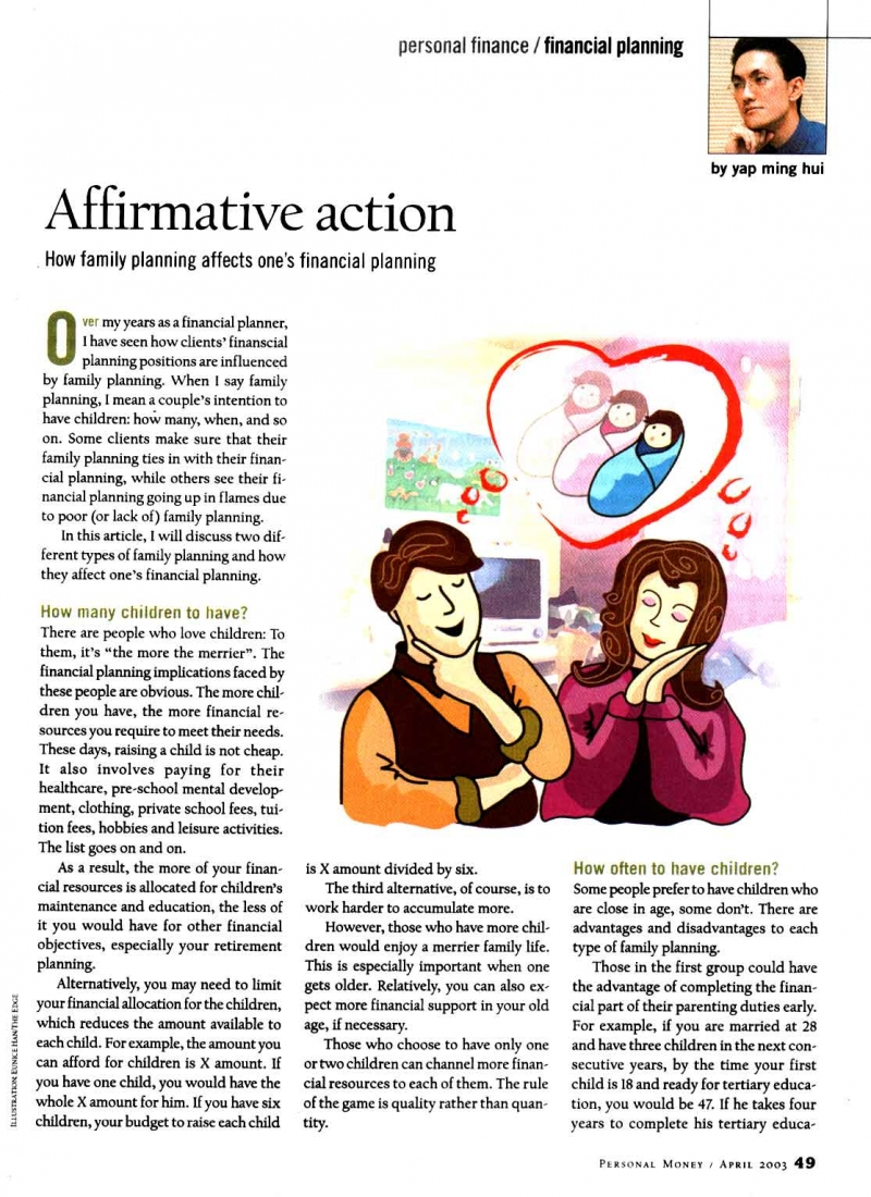 Affirmative Action (Personal Money) - 01 Apr 2003