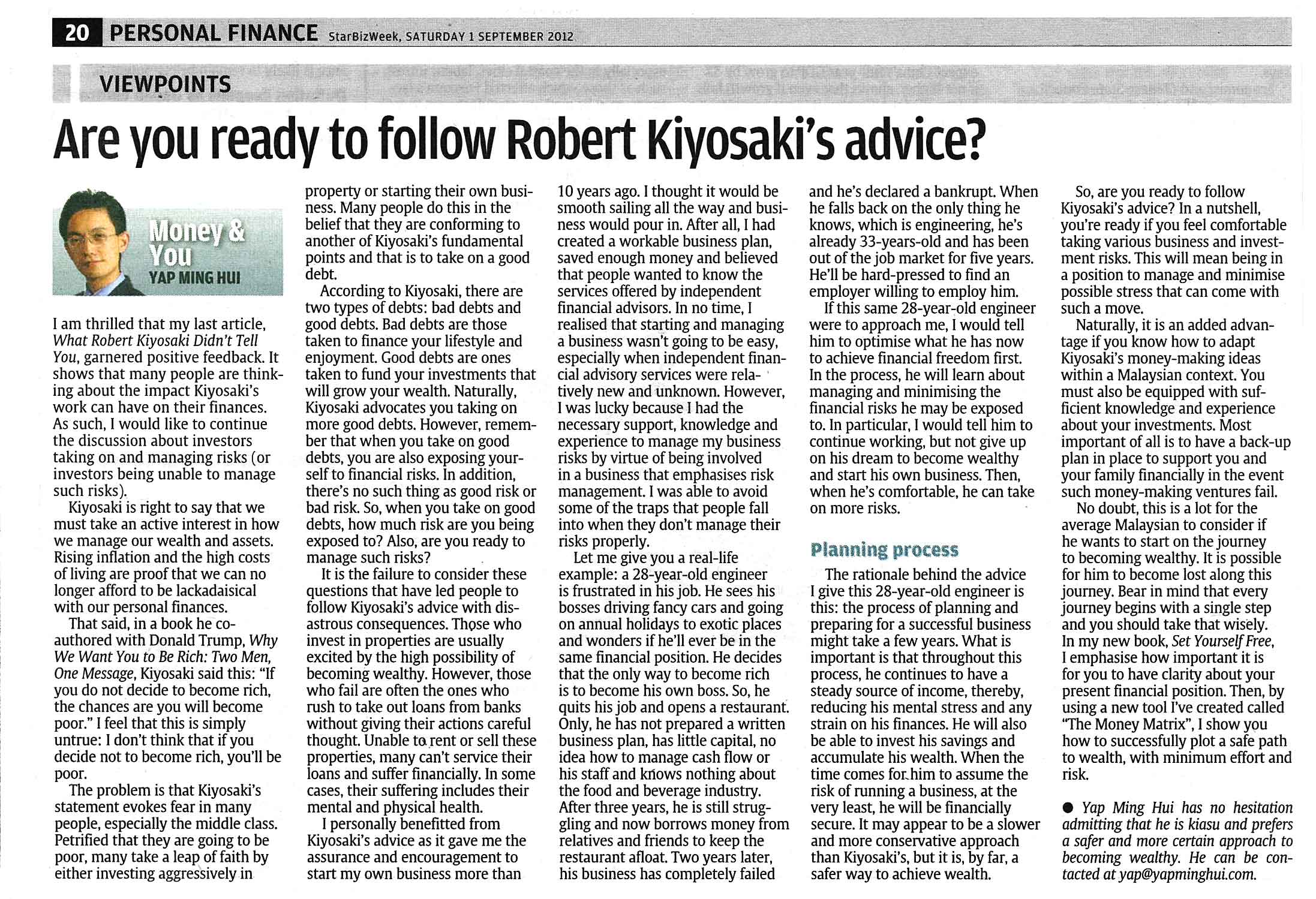Are You Ready To Follow Robert Kiyosaki's Advice - 01 Sep 2012