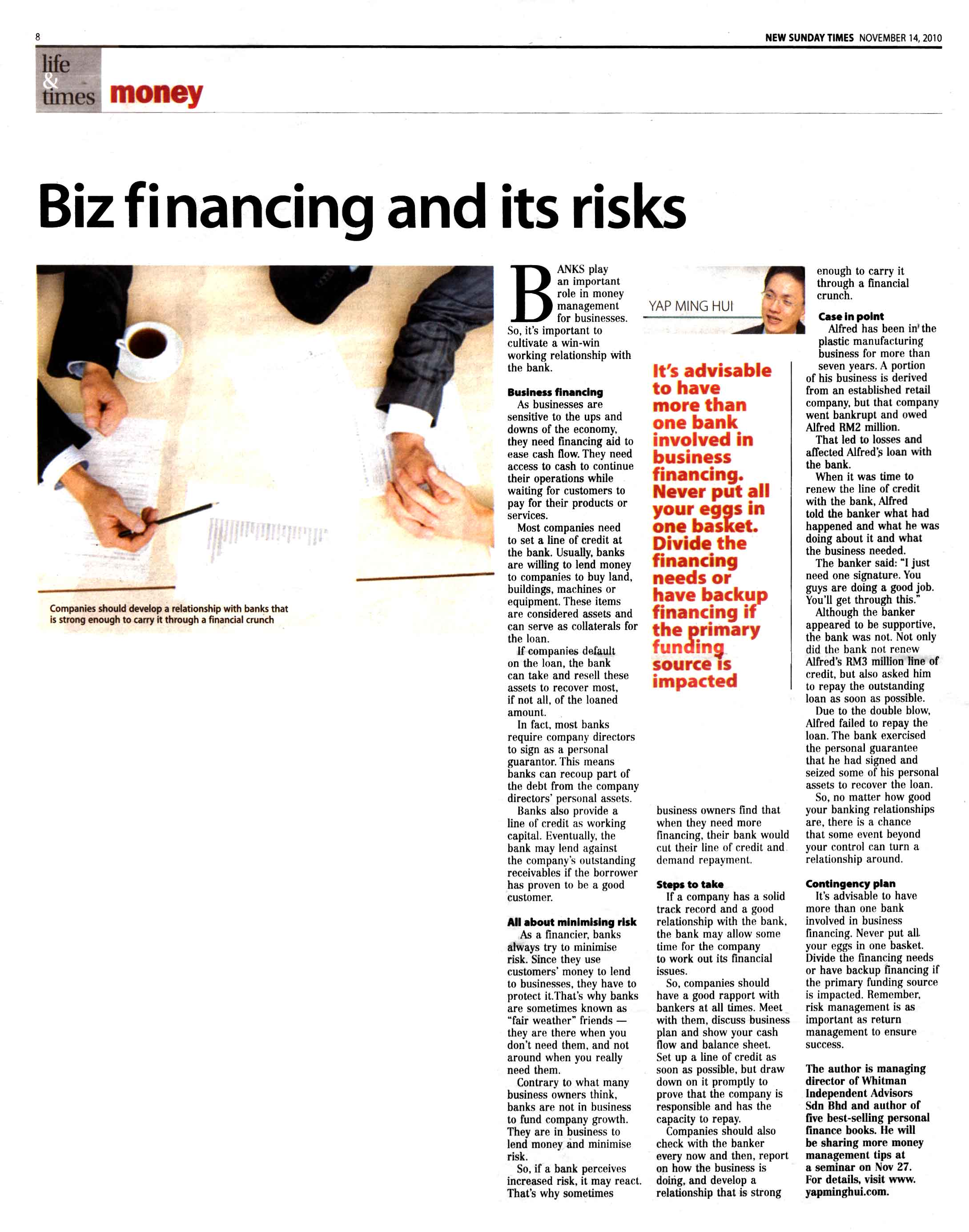 Biz financing and its risks (New Sunday Times) - 14 Nov 2010