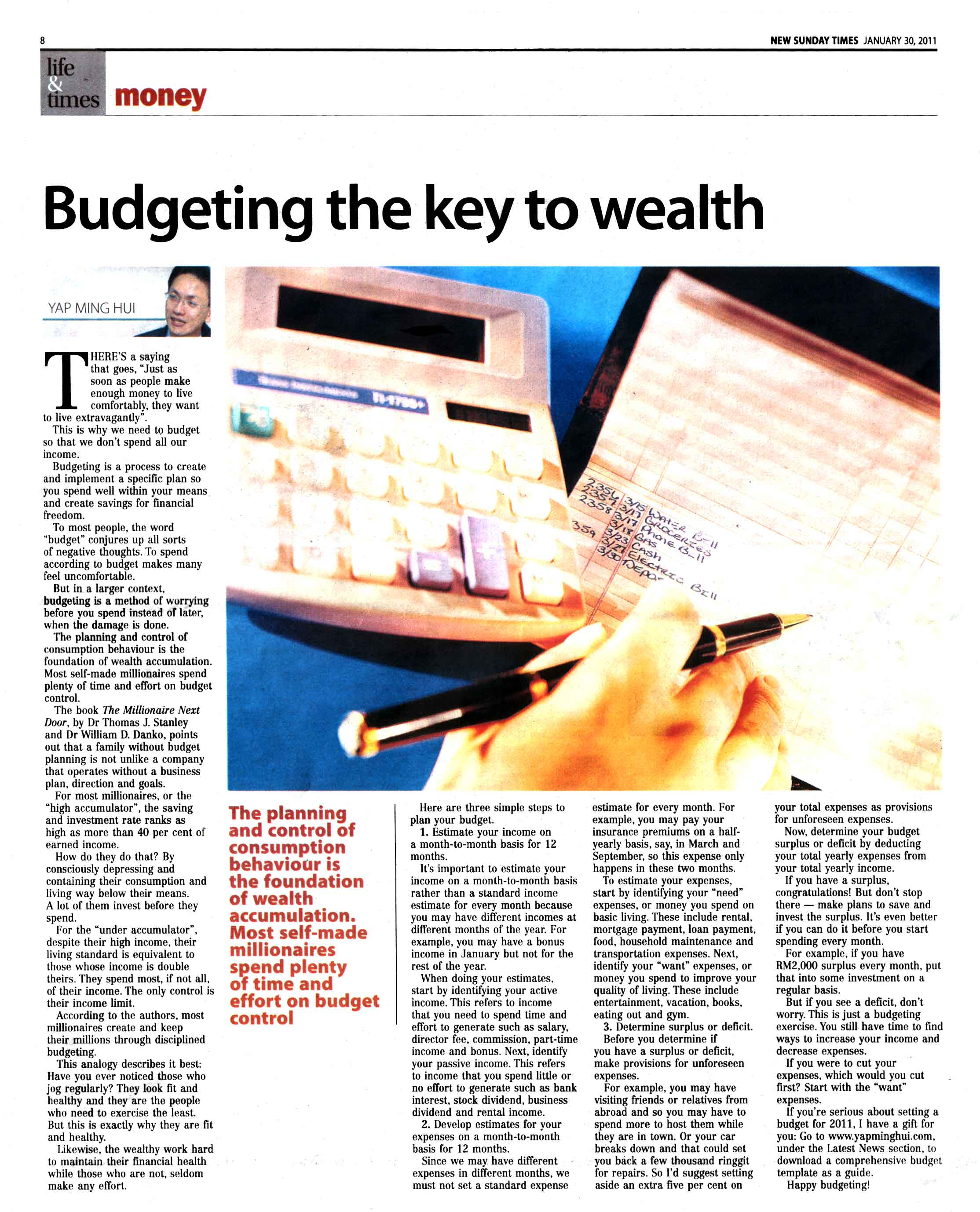Budgeting the Key to Wealth (New Straits Times) - 30 January 2011 - 30 Jan 2011