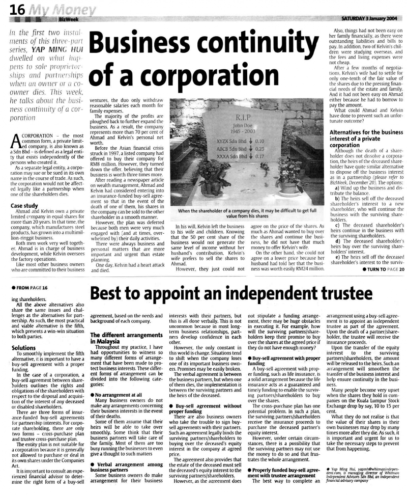 Business Continuity of a Corporation (The Star) - 03 Jan 2004