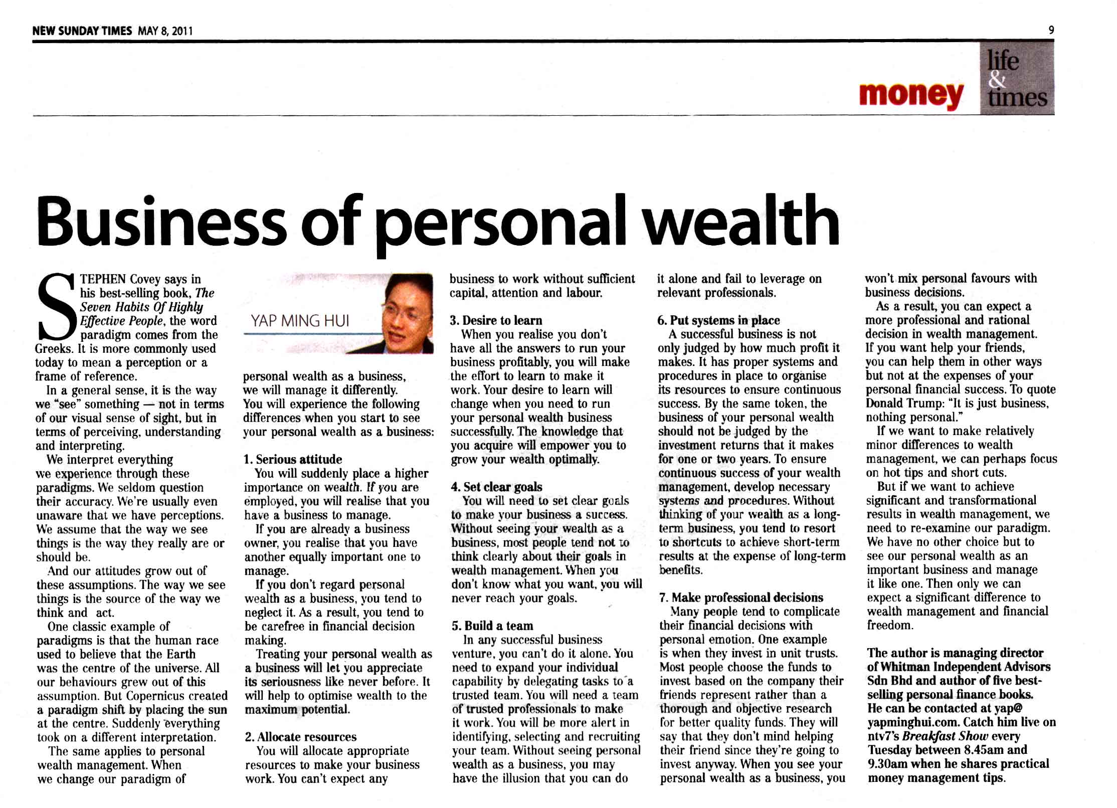 Business of Personal Wealth - 08 May 2011