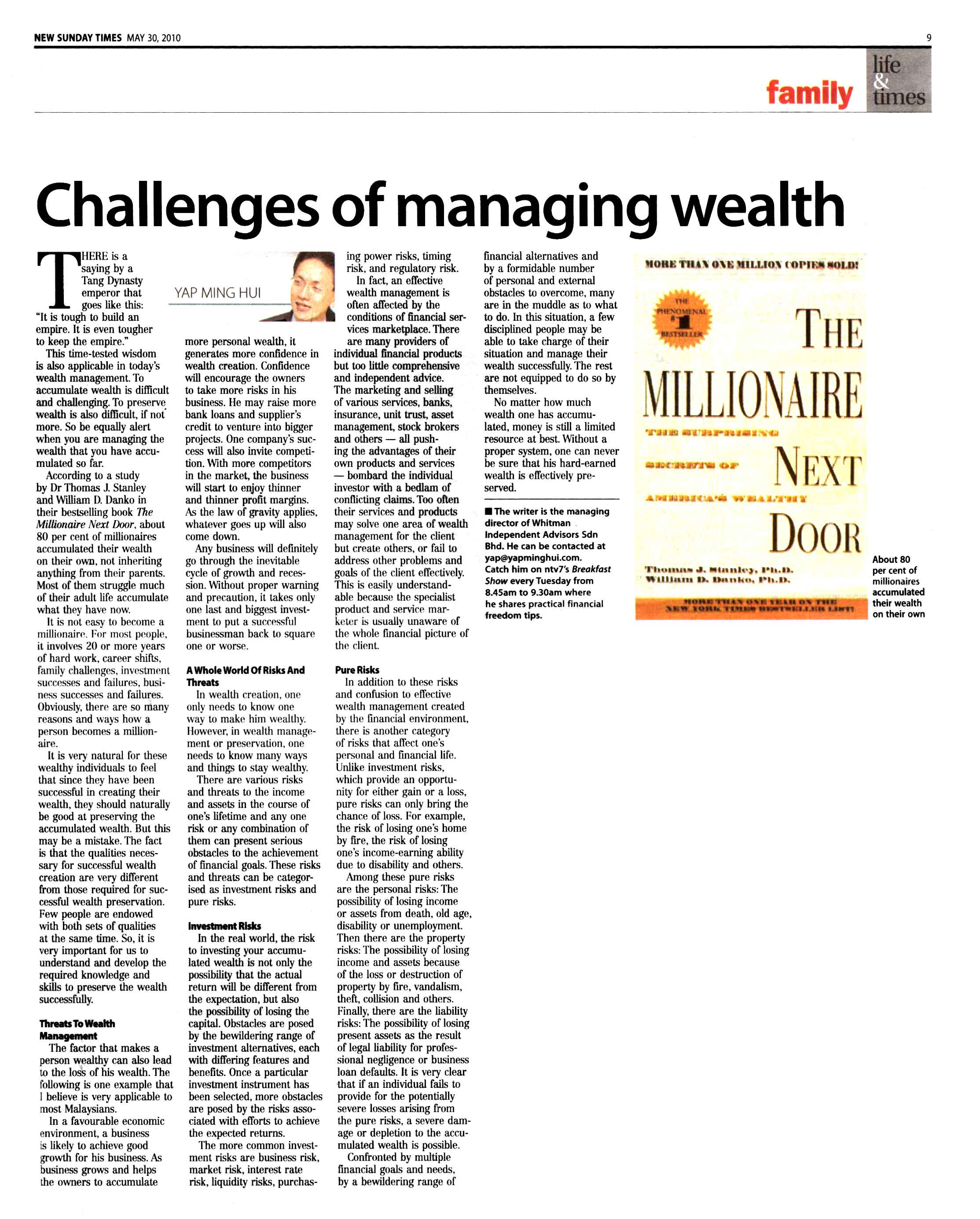Challenges of managing wealth (New Sunday Times) - 30 May 2010