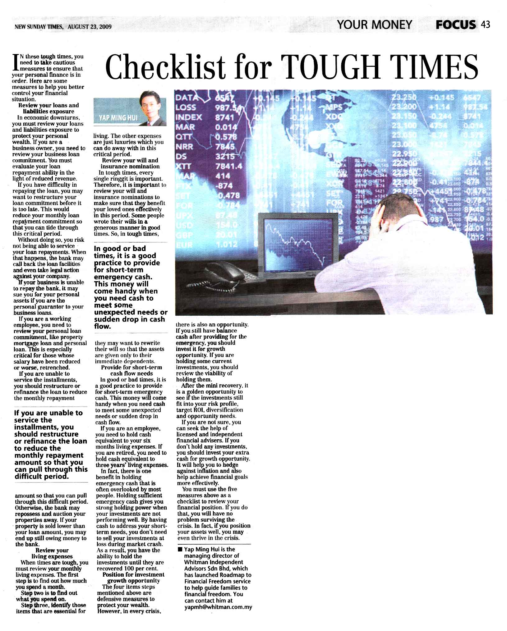 Checklist for tough times (New Sunday Times) - 23 Aug 2009