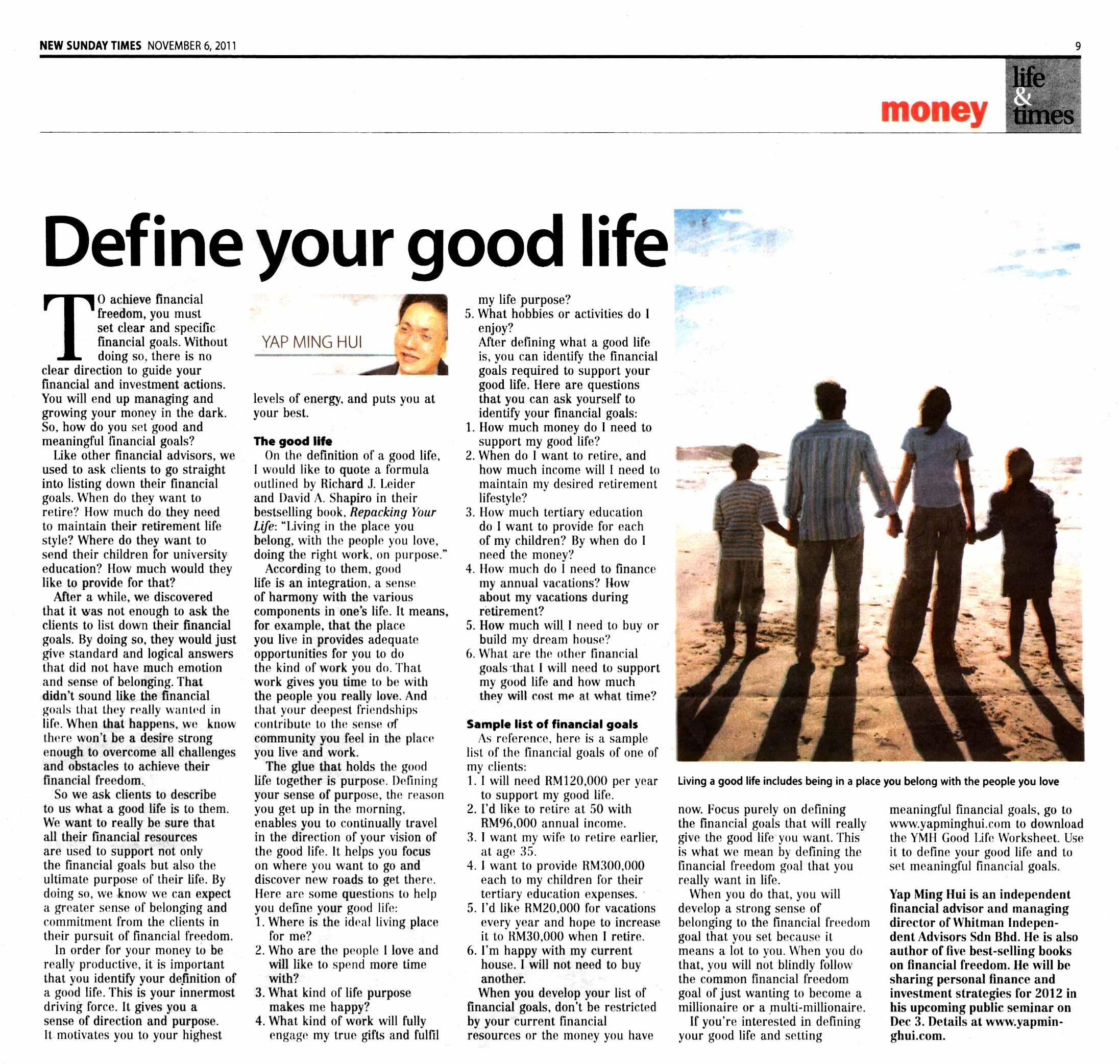 Define Your Good Life - 06 Nov 2011
