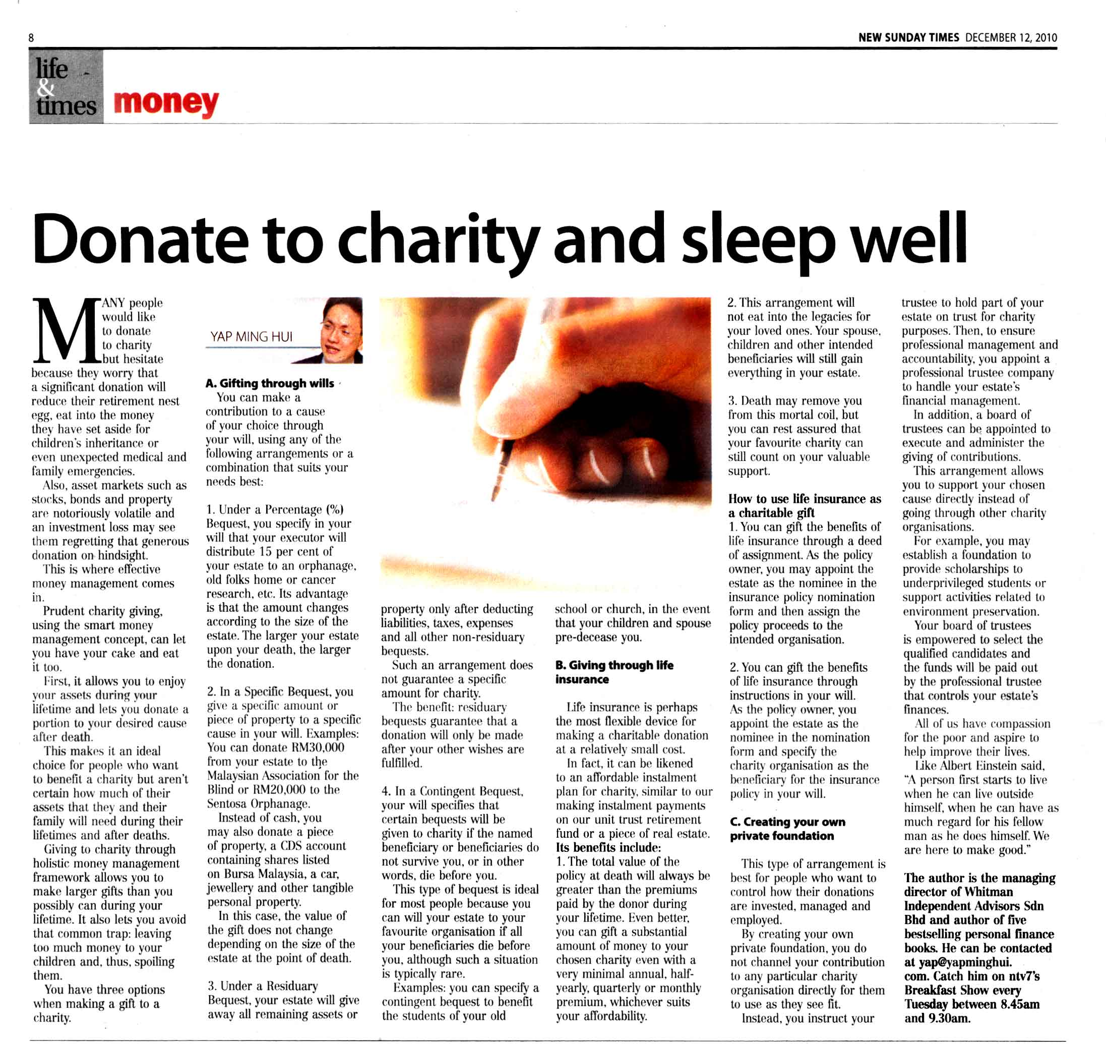 Donate to charity and sleep well (New Sunday Times) - 12 Dec 2010
