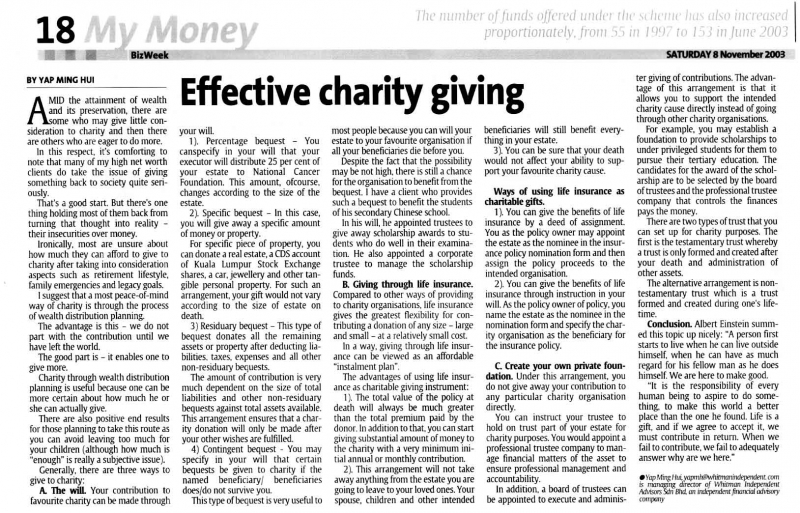 Effective Charity Giving (The Star) - 08 Nov 2003