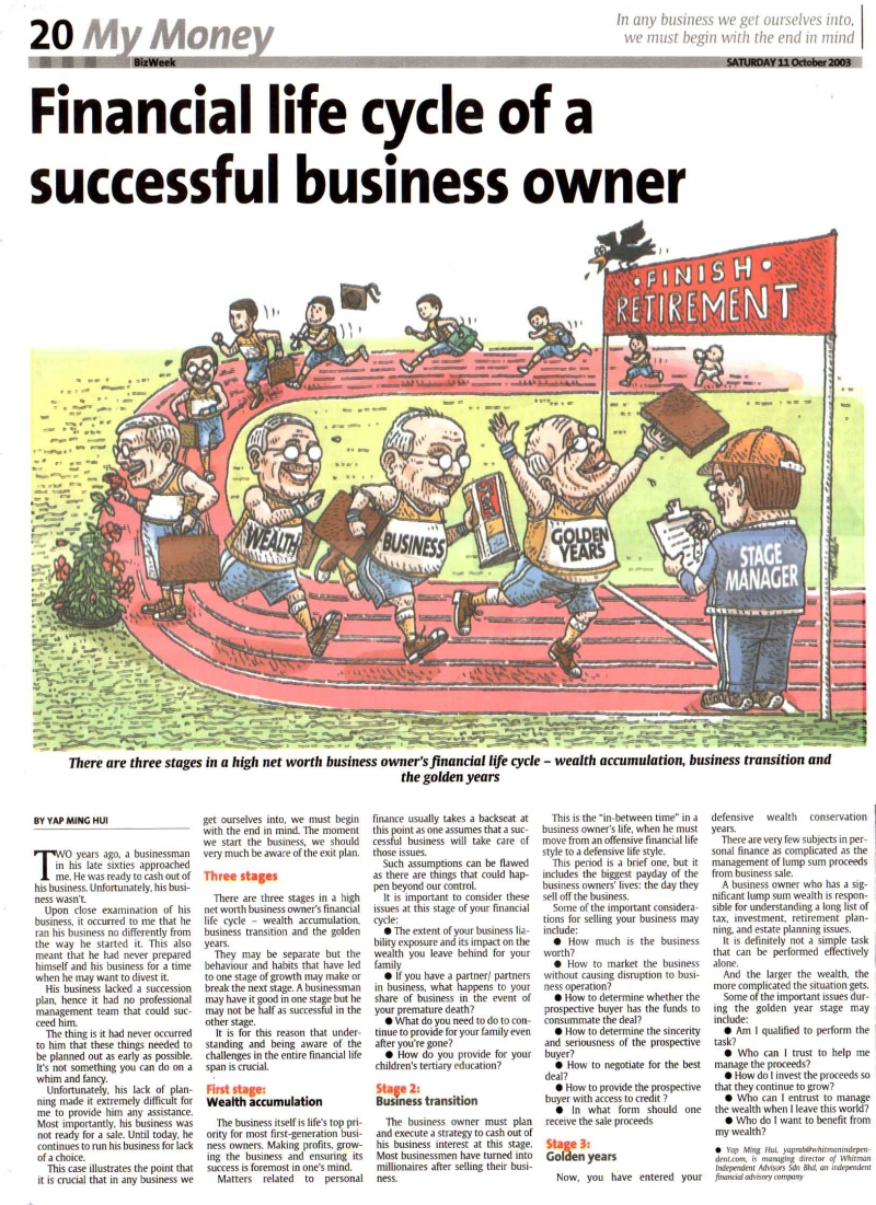 Financial Life Cycle of a Successful Business Owner (The Star) - 11 Oct 2003