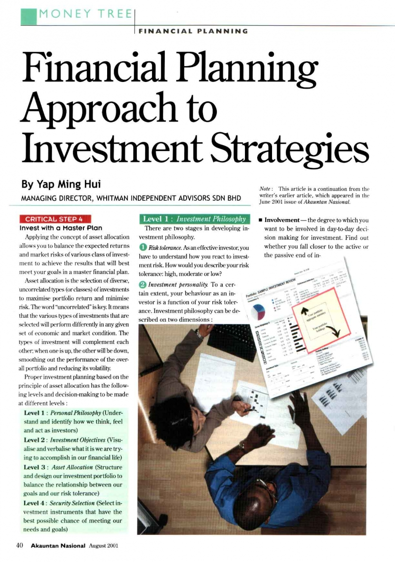 Financial Planning Approach to Invesment Strategies (Akauntan Nasional) - 01 Aug 2001