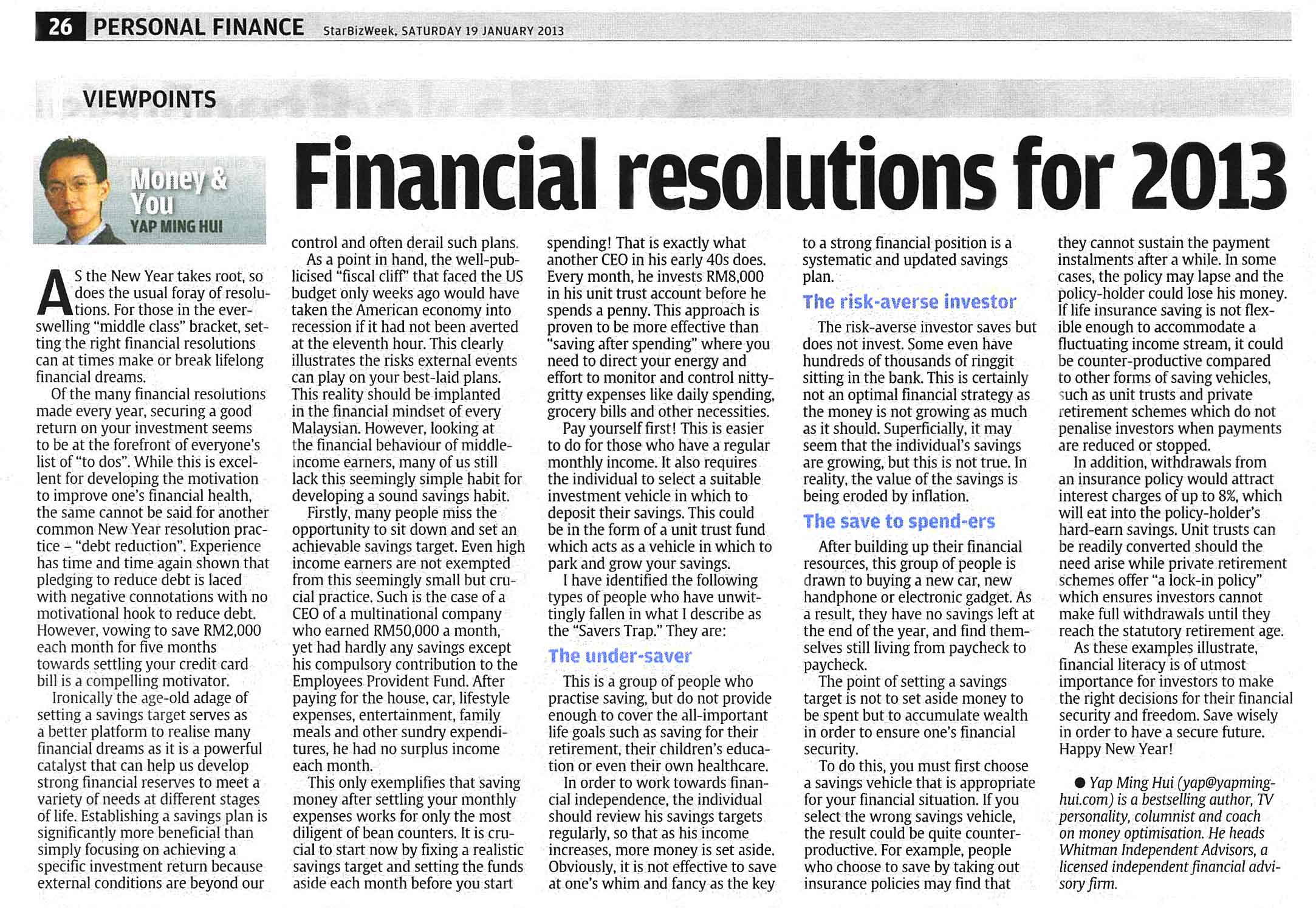 Financial Resolutions for 2013 - 19 Jan 2013