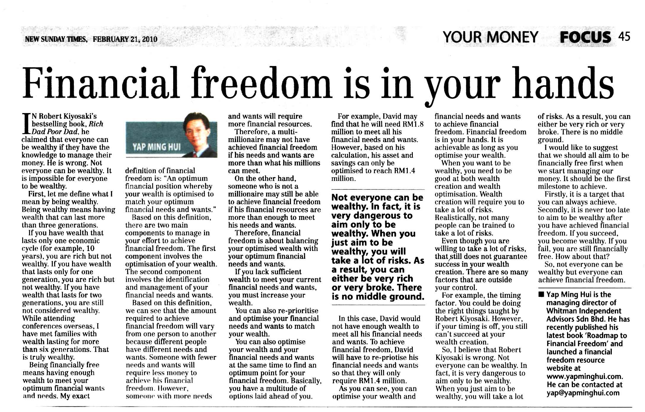 Financial freedom is in your hands (New Sunday Times) - 21 Feb 2010