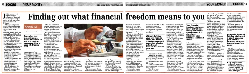Finding out what financial freedom means to you (New Sunday Times) - 08 Feb 2009