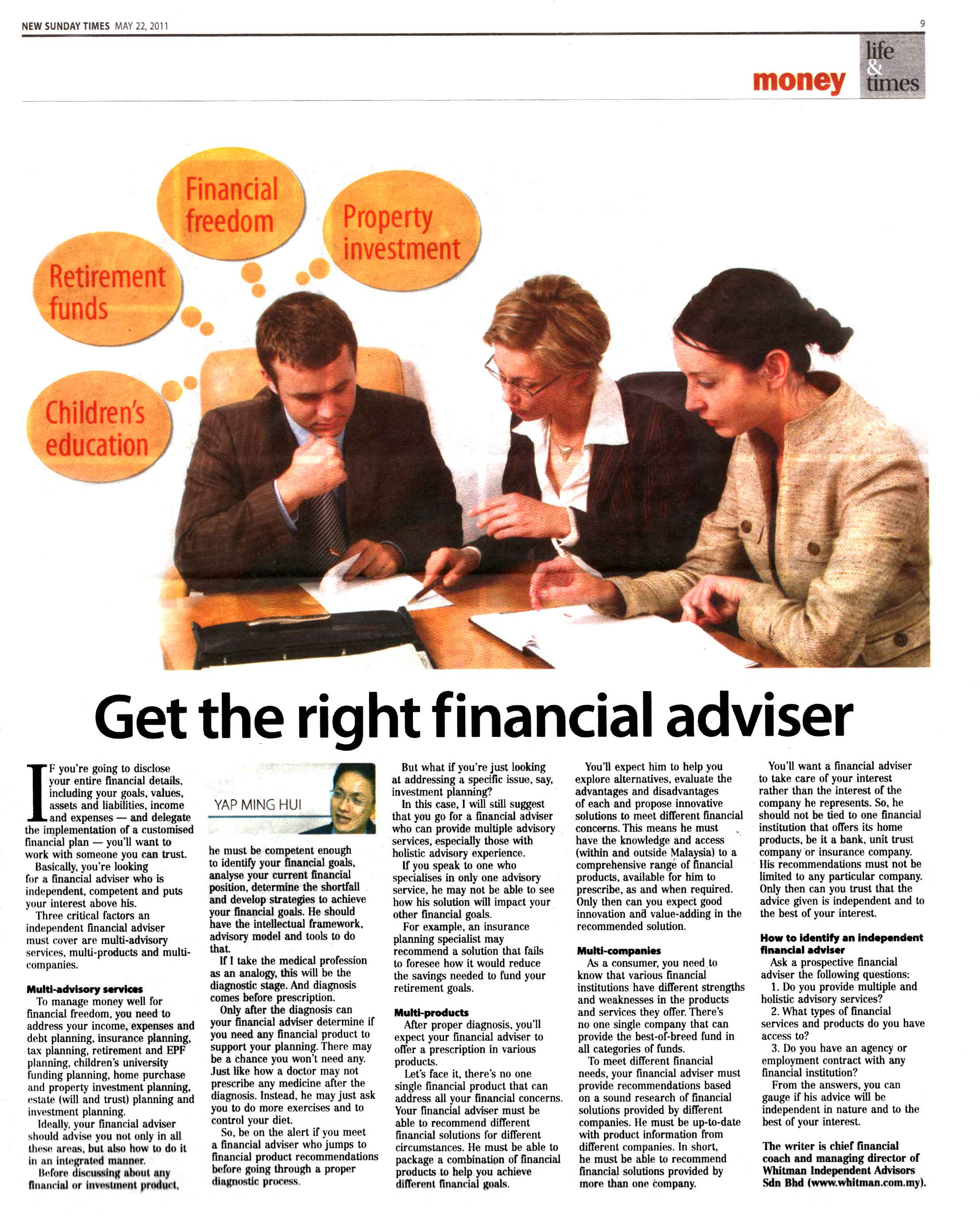 Get The Right Financial Adviser - 21 May 2011