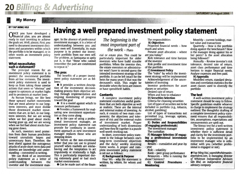 Having A Well Prepared Investment Policy Statement   Aug