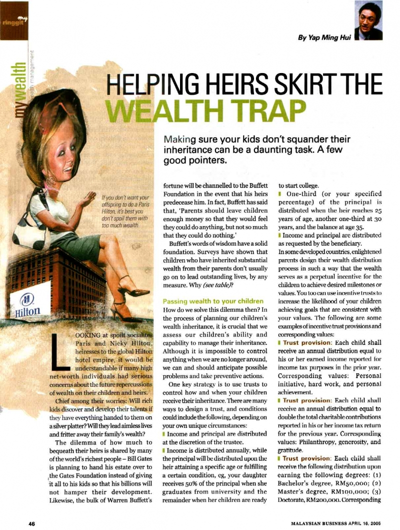 Helping Heirs Skirt the Wealth Trap (Malaysian Business) - 16 Apr 2005