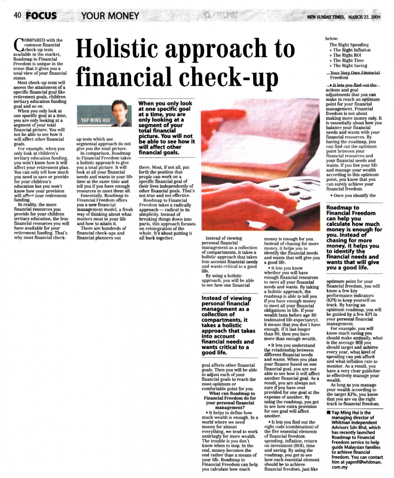 Holistic approach to financial check-up (New Sunday Times) - 22 Mar 2009