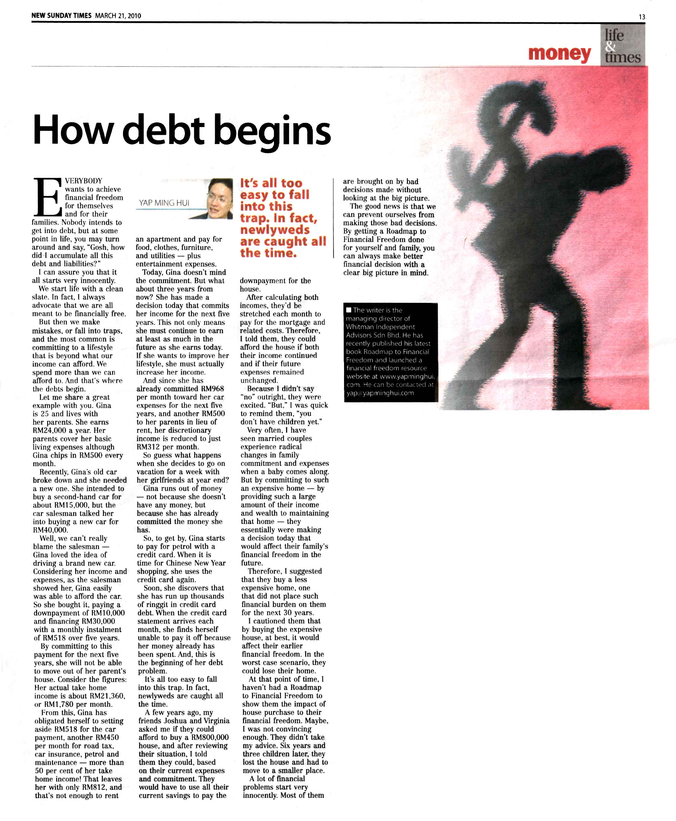 How debt begins (New Sunday Times) - 21 Mar 2010