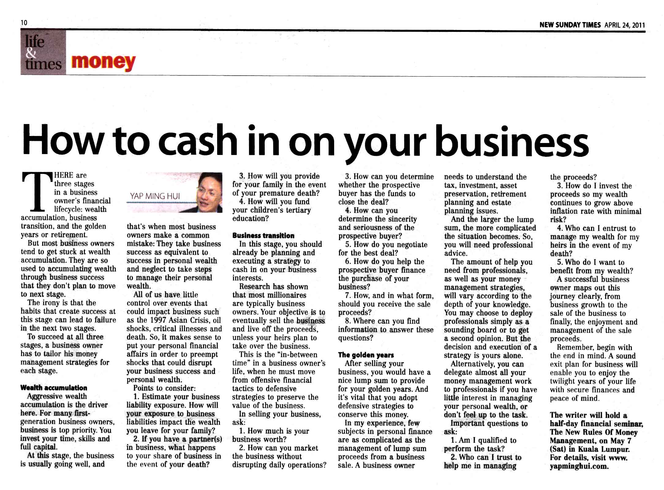 How to Cash In On Your Business - 24 Apr 2011