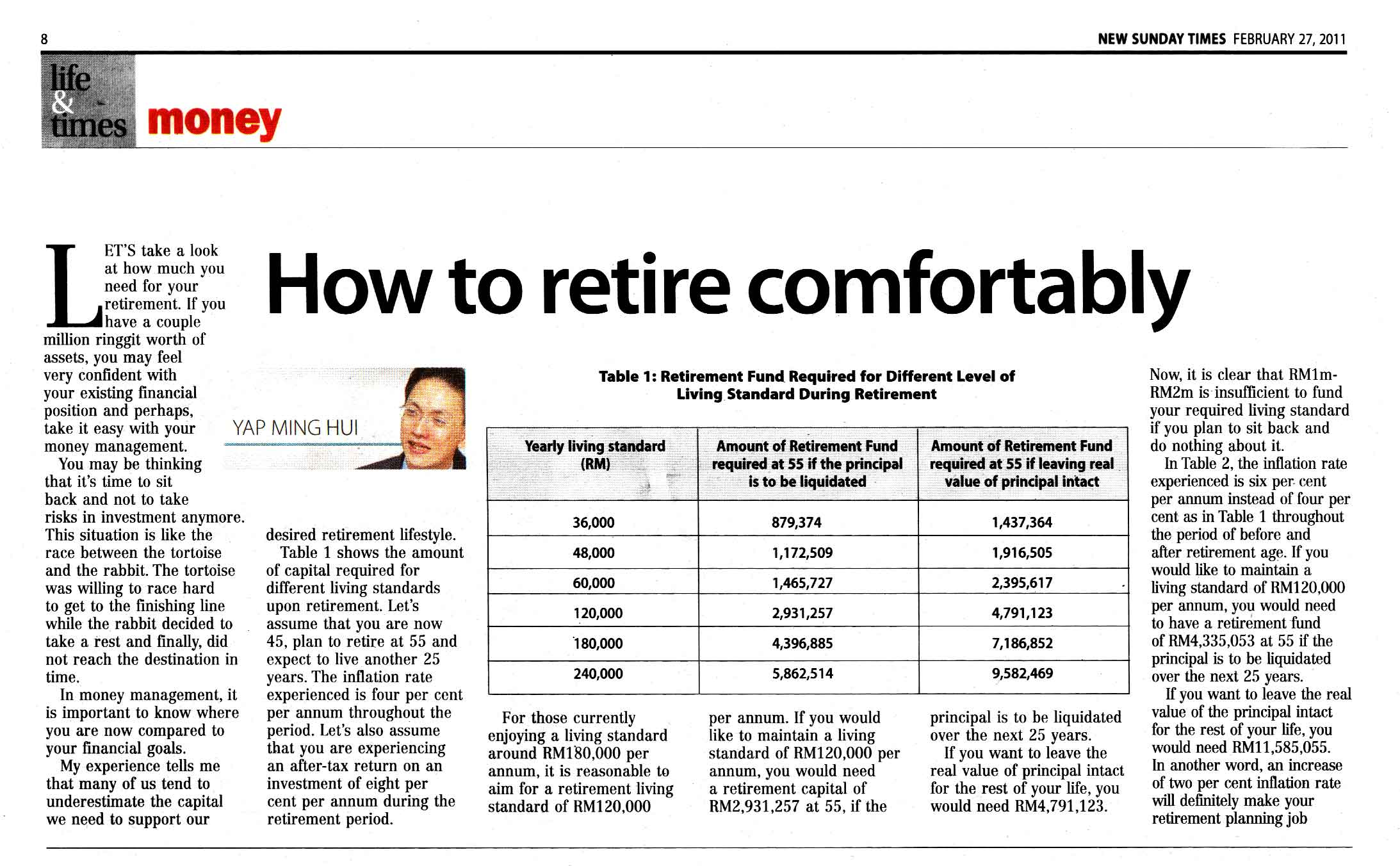How to Retire Comfortably - 27 February 2011 - 27 Feb 2011