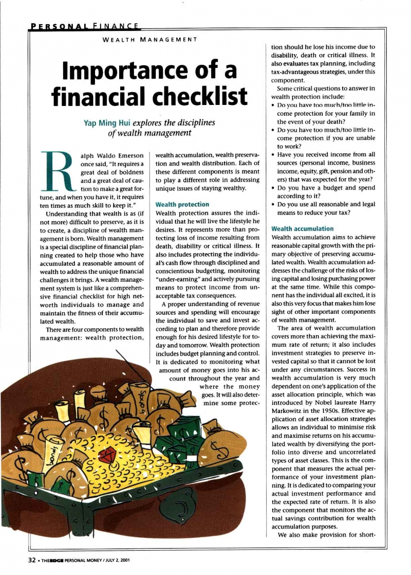 Importance of a Financial Checklist (Personal Money) - 02 Jul 2001