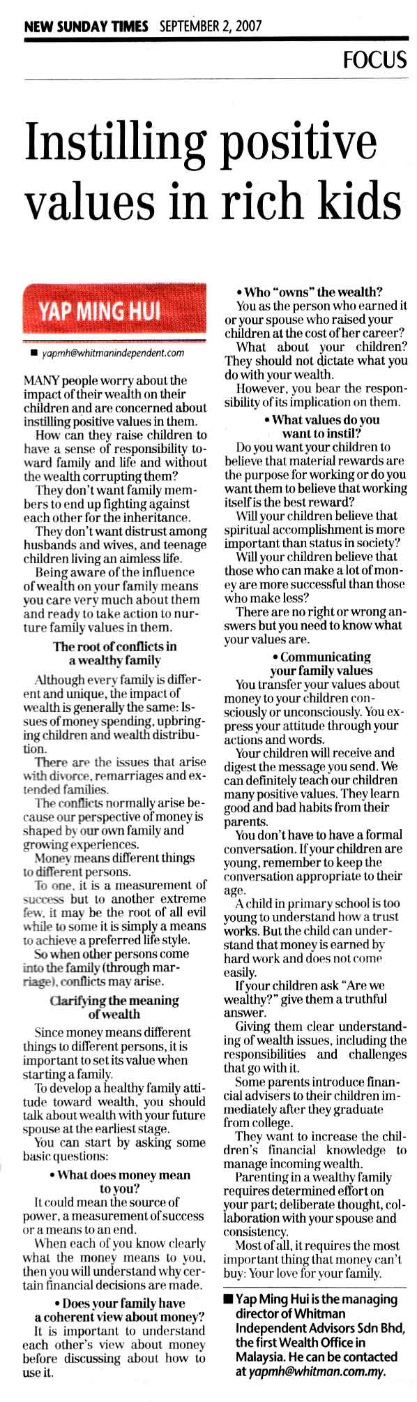 Instilling possitive values in rich kids (New Sunday Times) - 02 Sep 2007