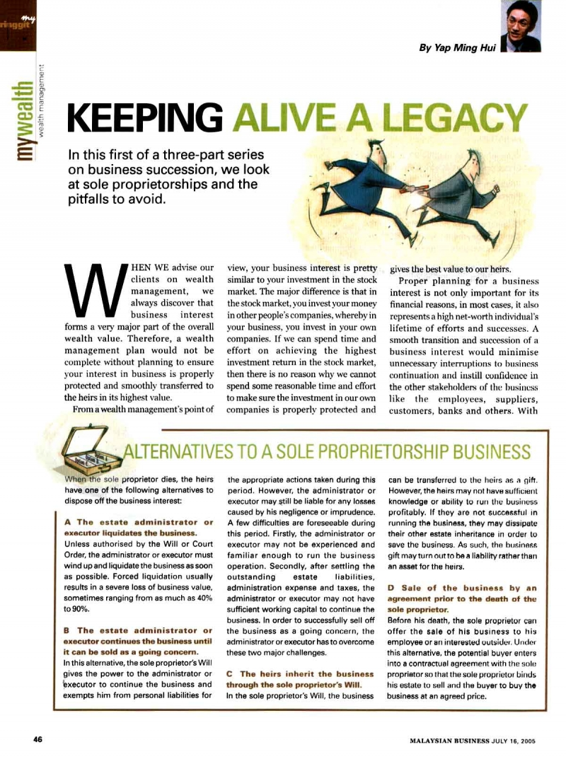 Keeping Alive a Legacy (Malaysian Business) - 16 Jul 2005