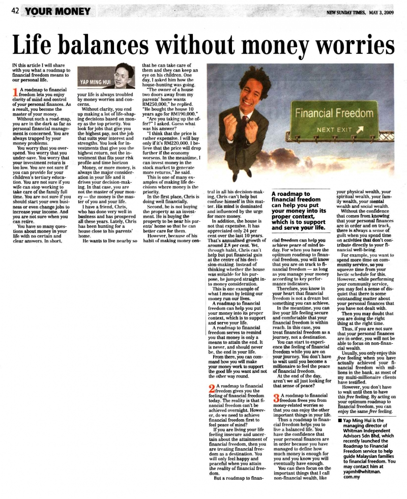 Life balances without money worries (New Sunday Times) - 03 May 2009