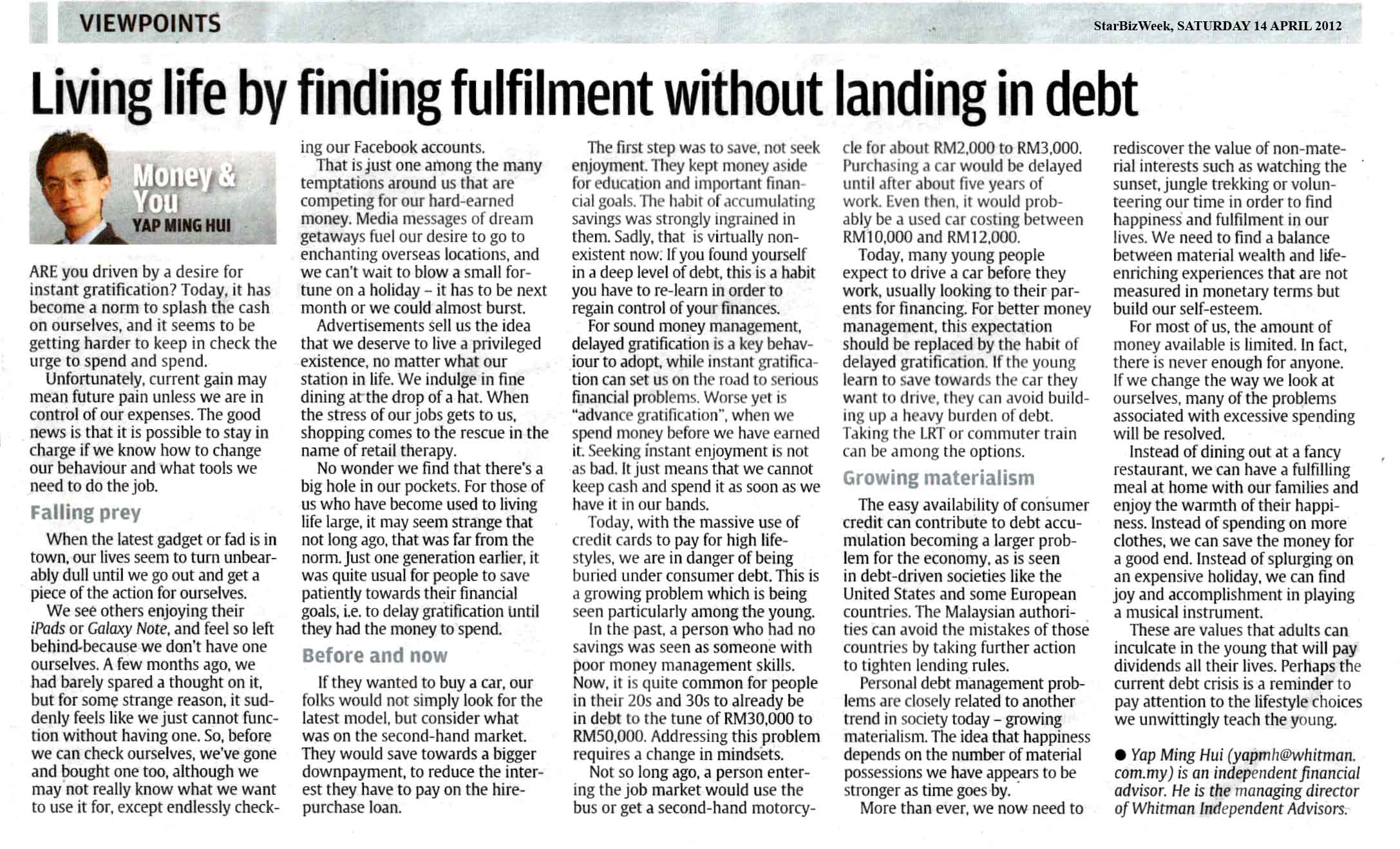 Living life by finding fulfilment without landing in debt - 14 Apr 2012