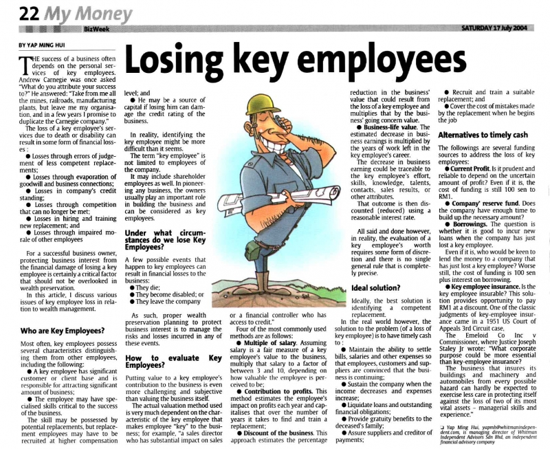 Losing Key Employees (The Star) - 17 Jul 2004