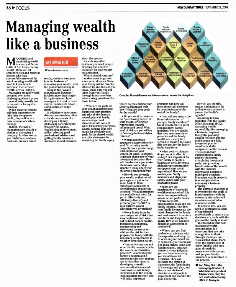 Managing Wealth like a Business (New sunday Times) - 21 Sep 2008