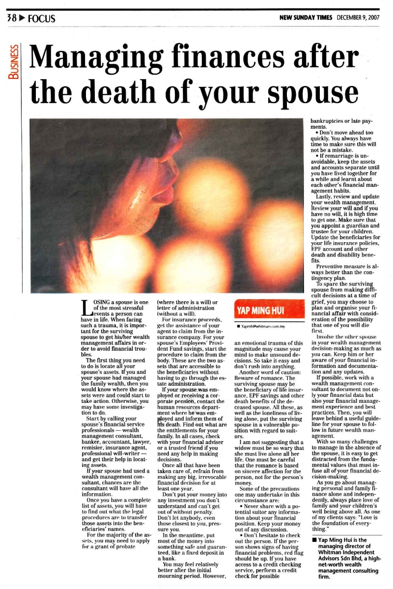 Managing finances after the death of your spouse (New Sunday Times) - 09 Dec 2007