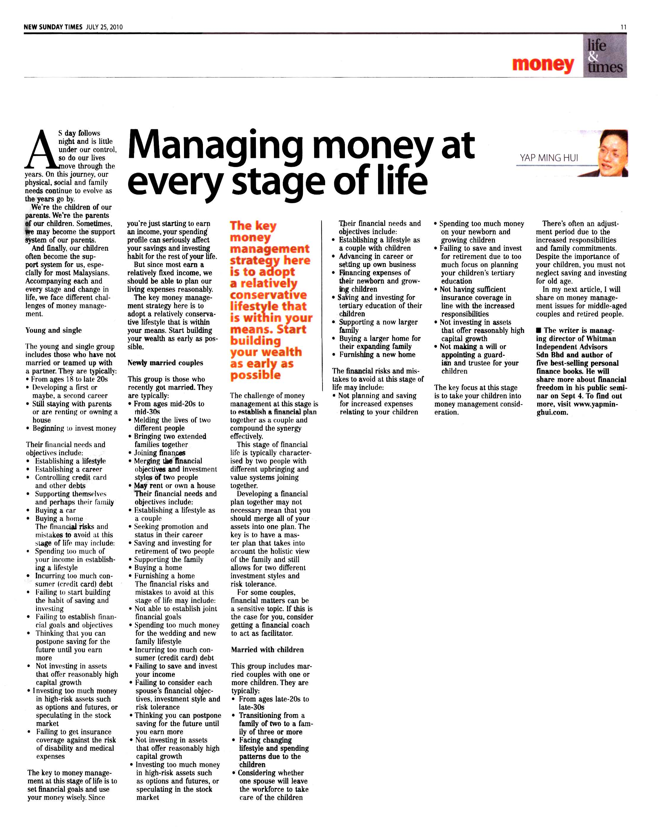 Managing money at every stage of life (New Sunday Times) - 25 Jul 2010