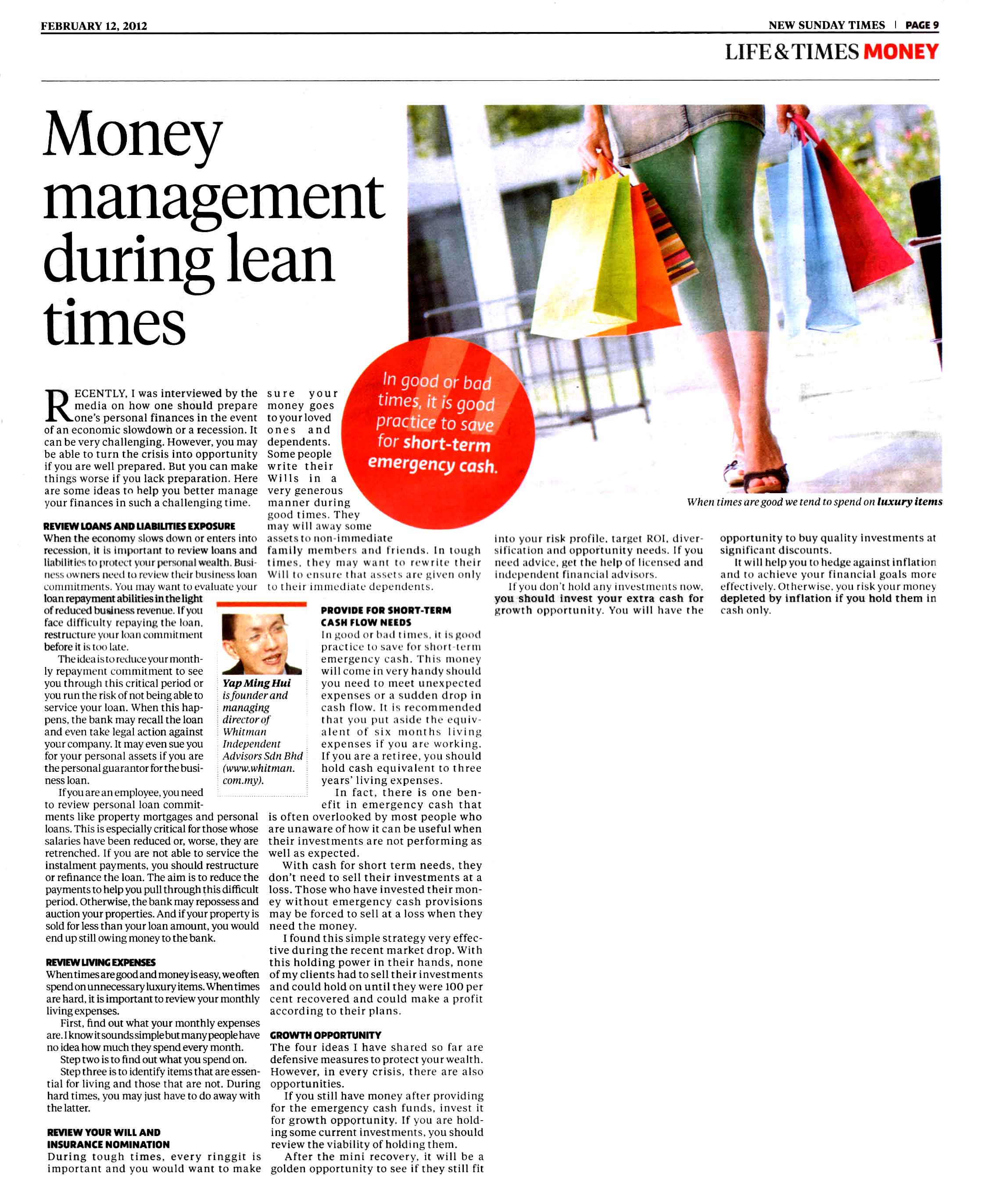 Money Management During Lean Times - 12 Feb 2012