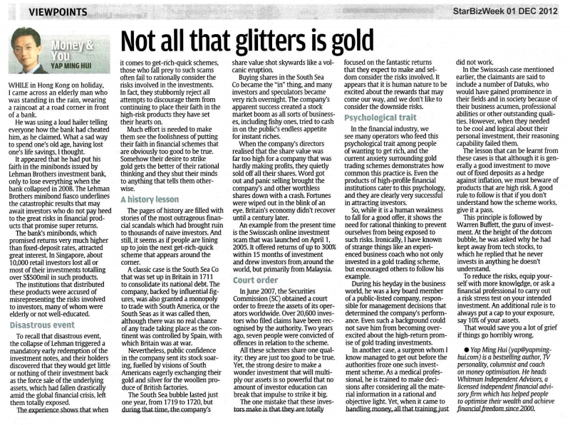 Not All That Glitters Is Gold - 01 Dec 2012