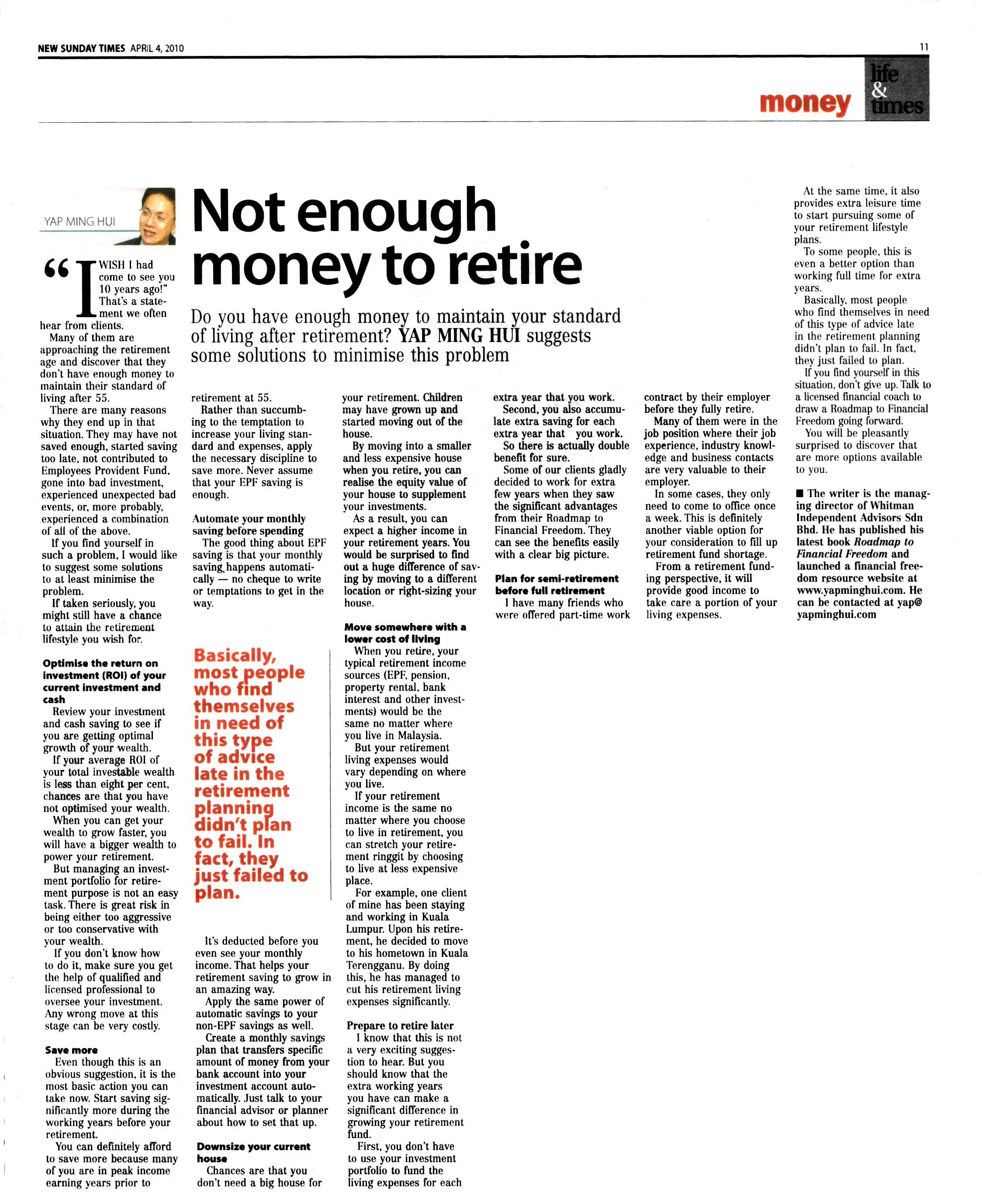 Not enough money to retire (New Sunday Times) - 04 Apr 2010