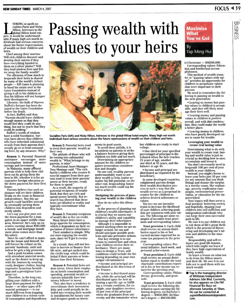 Passing wealth with values to your heirs (New Sunday Times) - 04 Mar 2007