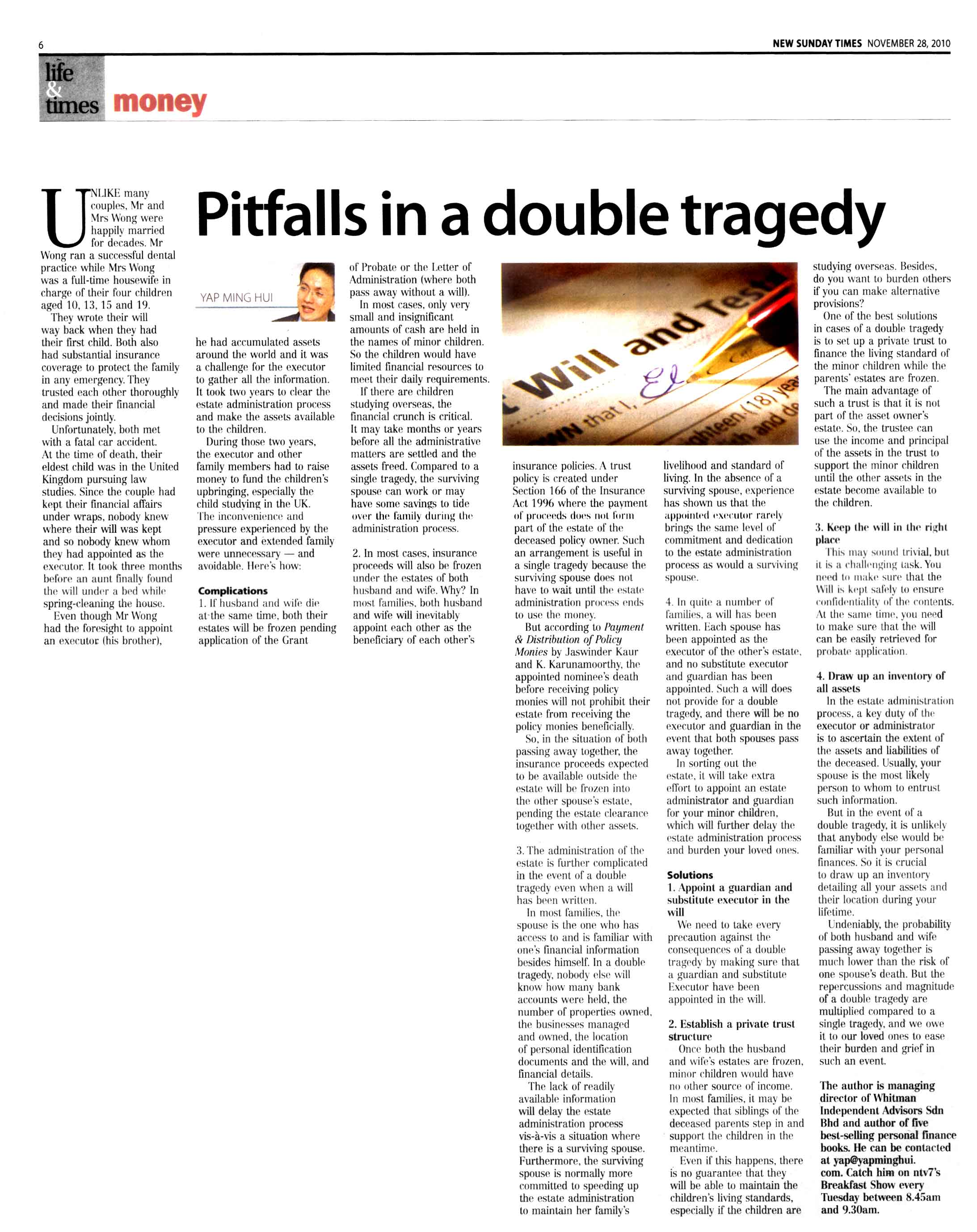 Pitfalls in a double tragedy (New Sunday Times) - 28 Nov 2010